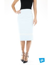 Skirt With Lace Light Blue