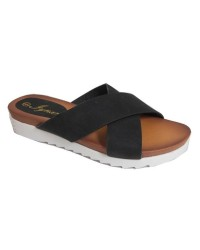 BLACK SLIP ON SANDALS