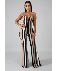 LADIES STRIPE JUMPSUITS