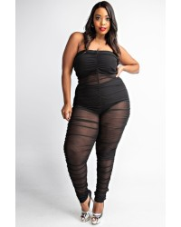 PLUS SIZE MESHRUSHED JUMPSUITS