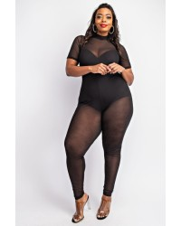 PLUS SIZE MESH JUMPSUITS