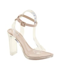 BOX HEEL CLEAR SANDALS