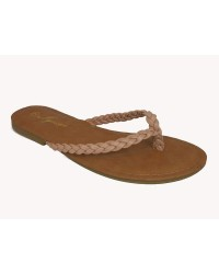 PLATTED THONG SANDALS