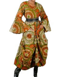 African print long dress with bell sleeves