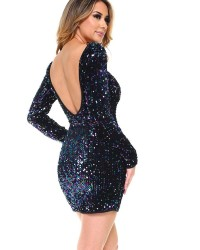 SEQUIN L/S MINI DRESS